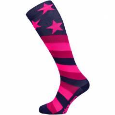 Sosete de compresie lungi Stars Pink